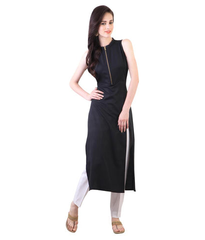 Navy Blue Color Heavy Rayon Stitched Kurti - VT97A
