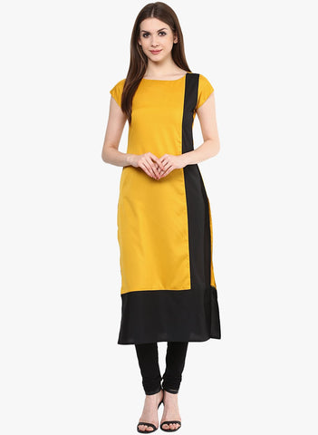 Yellow Color Heavy Rayon Stitched Kurti - VT98A