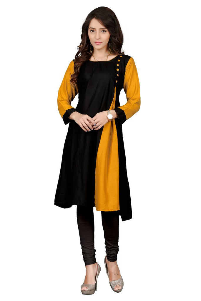 Buy Black And Yellow Color Heavy Rayon Stitched Kurti