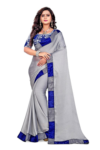 Grey Color Satin Checks Silk Saree - Vaani-101