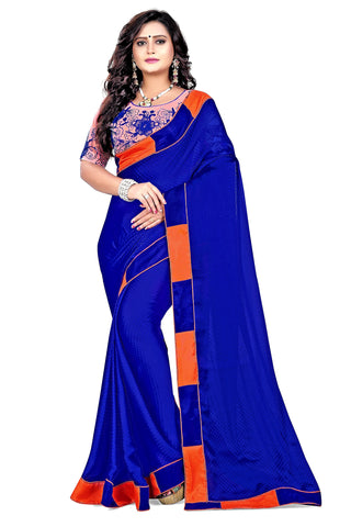 Royal Blue Color Satin Checks Silk Saree - Vaani-102