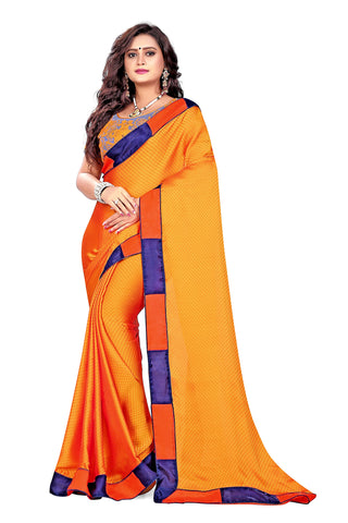 Orange Color Satin Checks Silk Saree - Vaani-104