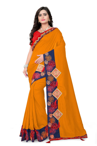 Mustard Color Vichitra Art Silk Saree - Varuni-102