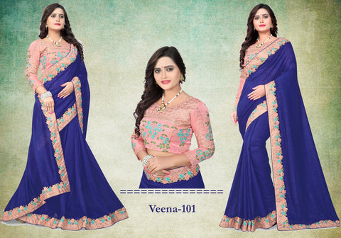Navy Blue Color Vichitra Art Silk Saree - Veena-101