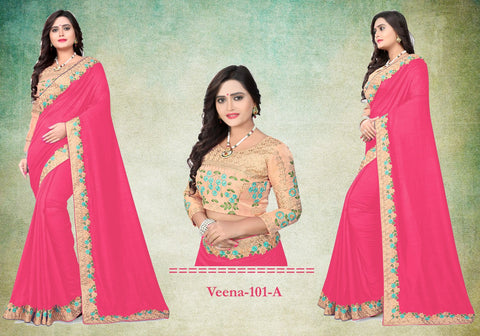 Rani Pink Color Vichitra Art Silk Saree - Veena-102