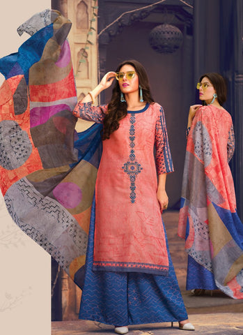 Peach Color Pure Lawn Semi-Stitched Salwar - VeroAmore-21993