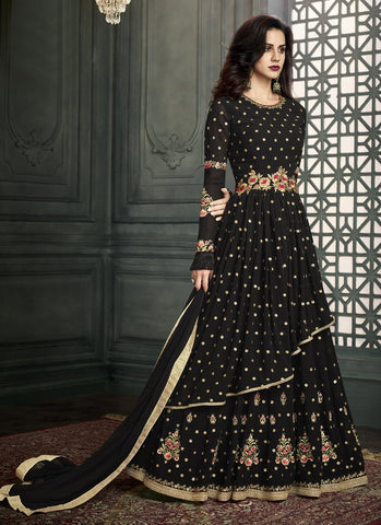 Black Color Georgette Semi Stitched Salwar - Vidhisha-31006
