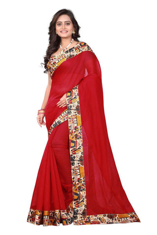 Red Color Chanderi Cotton Saree - Village-red