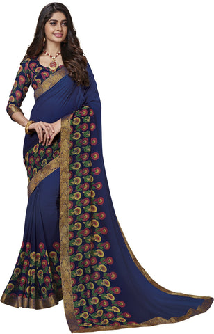 Blue Color Georgette Saree - Vipul-37711