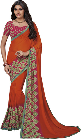 Orange Color Georgette Saree - Vipul-37716