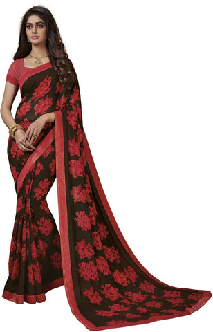 Coffee Color Georgette Saree - Vipul-37724