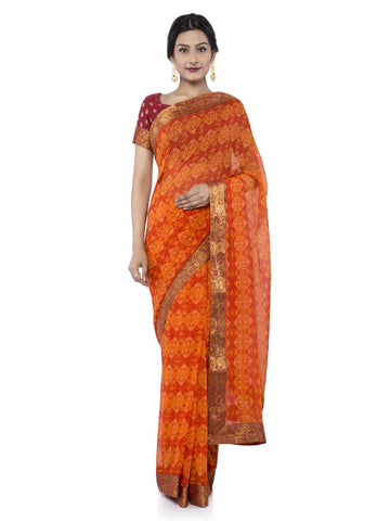Orange Color Georgette Saree - Vipul-38040