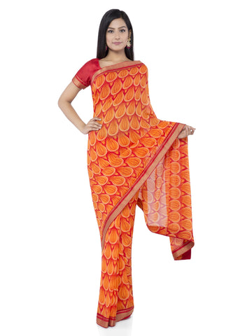 Orange Color Georgette Saree - Vipul-38042
