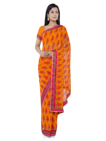 Orange Color Georgette Saree - Vipul-38046