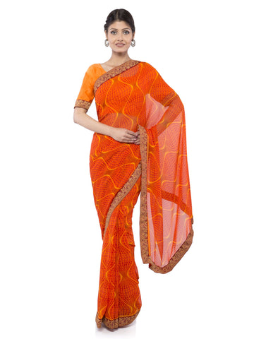 Orange Color Georgette Saree - Vipul-38051