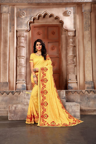 Yellow Color Vichitra Art Silk Saree - Vrunda-301