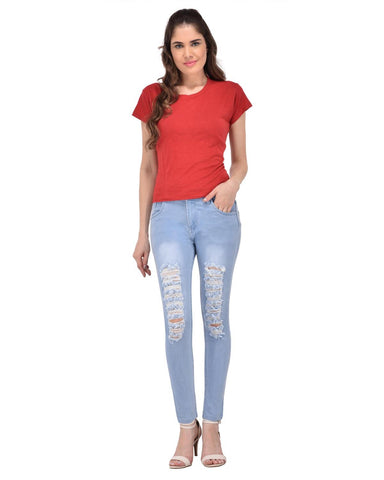 LightBlue Color Denim Women Jeans - W-T5-LBLUE-28