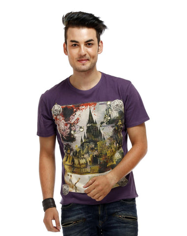 Purple Color Cotton Men T-Shirt - WC-Ink