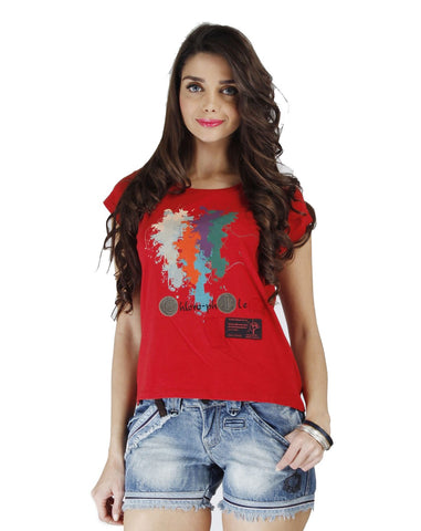 Red Color Organic Cotton Women Top - WCR-PepperRed