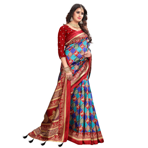 Red Color Lychee Silk  Saree - WF-1735-A