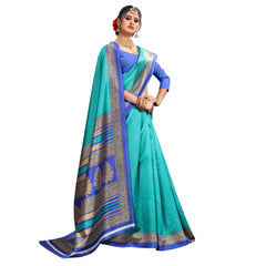 Buy Sky blue Color Lychee Silk  Saree
