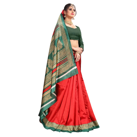 Red Color Lychee Silk  Saree - WF-1737-B