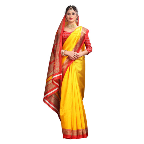 Yellow Color Lychee Silk  Saree - WF-1737-C