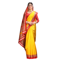 Buy Yellow Color Lychee Silk  Saree