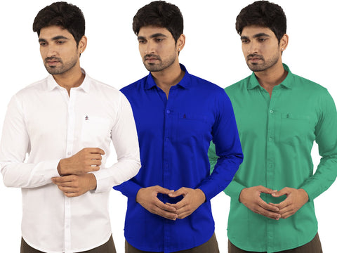 3 Combo Shirts White, Royal Blue and Parrot Green - 1ABF-WH-RB-PG