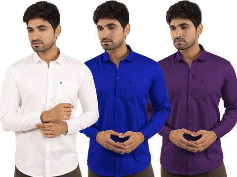 3 Combo Shirts White, Royal Blue and Purple - 1ABF-WH-RB-PR