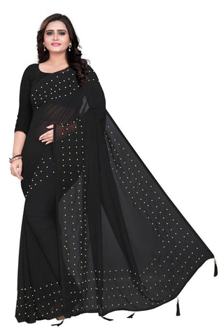 Black Color Faux Georgette Saree - WHITE-PEARL-BLACK