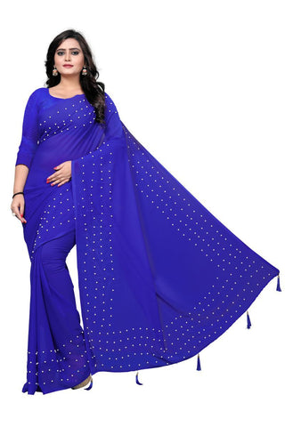 Blue Color Faux Georgette Saree - WHITE-PEARL-BLUE