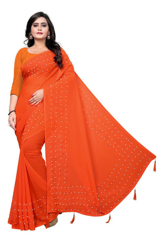 Orange Color Faux Georgette Saree - WHITE-PEARL-ORANGE