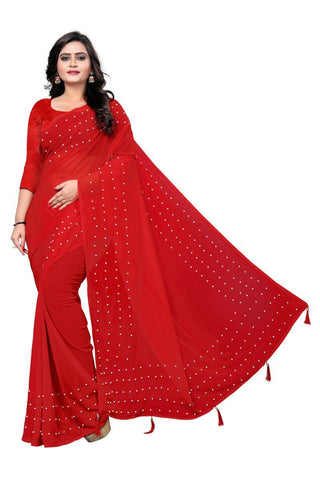 Red Color Faux Georgette Saree - WHITE-PEARL-RED