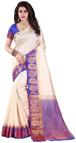 White and Blue Color Kanjivaram Silk Saree - WHITE BLUE