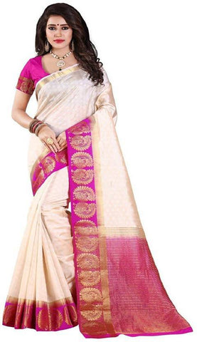 White and Pink Color Kanjivaram Silk Saree - WHITE PINK