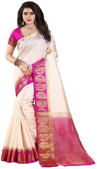 White and Pink Color Kanjivarm Silk Saree