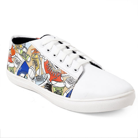 BROOKE White Color Synthetic Men Casual Shoes - WHITEPRINTED