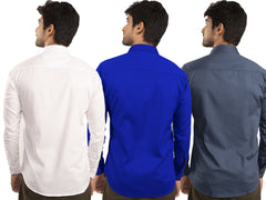 3 Combo Shirts White, Royal Blue and Navy Blue - 1ABF-WH-RB-NB