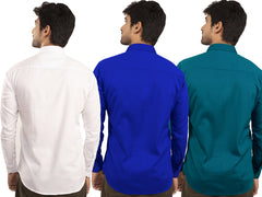 3 Combo Shirts White, Royal Blue and Sea Green - 1ABF-WH-RB-SG