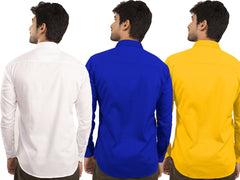 3 Combo Shirts White, Royal Blue and Yellow - 1ABF-WH-RB-YW