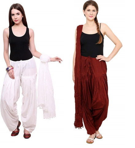 COMBOS - Whtmrn Color Cotton Stitched Women Patiala Pants With Dupata - Whtmrn