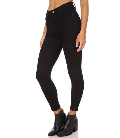 Black Color Denim Women Jeans - WJ-4BUTTN-BLK