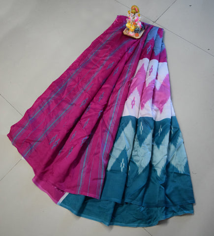 Pink and Blue Color Khadi Silk Saree - WM-1794-B