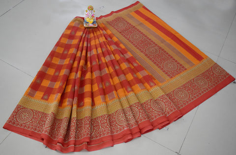 Orange Color Khadi Silk Saree - WM-1796-B
