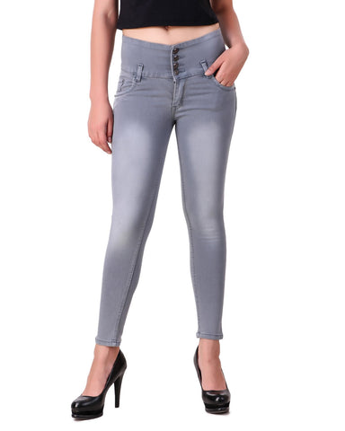 Grey Color Denim Women Jeans - WO-4BTN-GRY