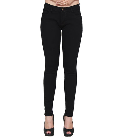 Black Color Denim Women Jeans - WO-BLK