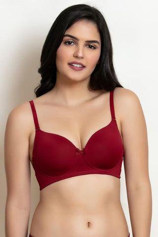 Maroon Color Cotton Women Bra - WO-BR-PDED-MRN