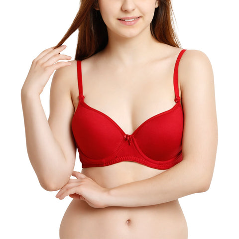 Red Color Cotton Women Bra - WO-BR-PDED-RD
