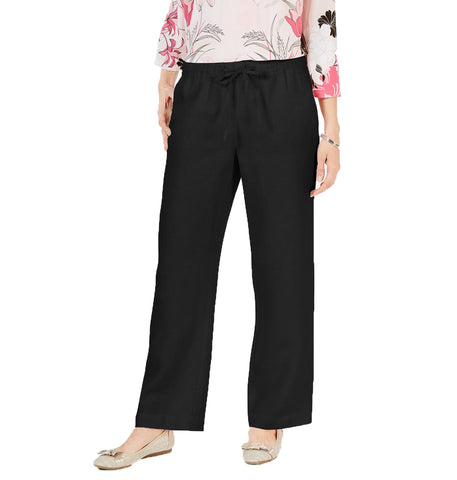 Black Color Linen Womens Pant - WO-pants-BLK